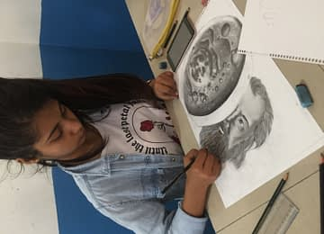 Anjali Ghimire – WINNER Sketch Competition organized by STEM Club Aroma Winner with her Sketch.